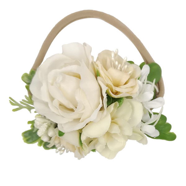 Beautiful Artificial Flower Crown Soft Elastic Nylon Headbands For Newborn Kids Girls Women Baby Headband Wedding Hair Accessories