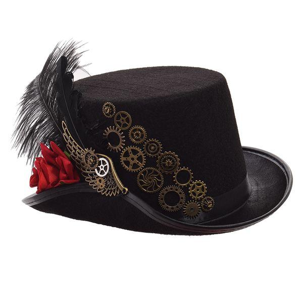 Steampunk Top Hat Men Women Black Rose Gears Feather Fedora Vintage Cosplay Head Wear 58cm/61cm