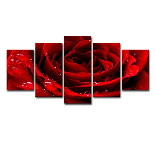 Modular HD Prints Posters Home Decor Canvas Pictures Framework 5 Pieces Beautiful Red Rose Flower Paintings Living Room Wall Art