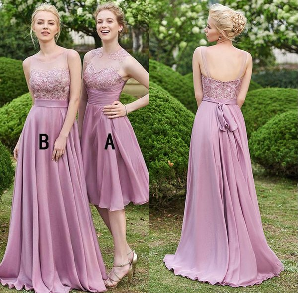 Cheap Custom Made Dusty Rose Bridesmaid Dresses Long Chiffon A-Line Sleeveless Keyhole Backless Lace Top Short Wedding Maid Of Honor Gowns