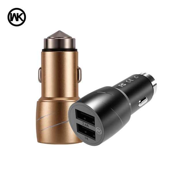 WK DESIGN Dual USB Car Charger For iPhone Samsung Huawei Xiaomi Mobile Phone Fast Car Phone Charger USB Travel Car-Charger