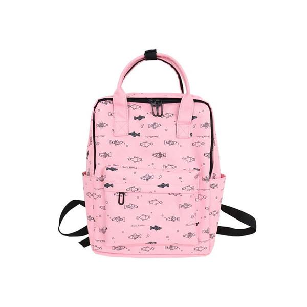 MASEPHILI Fish Printing Women School Bag Backpack for Teenage Girls Backpacks Female Canvas Children Schoolbag Women Bag