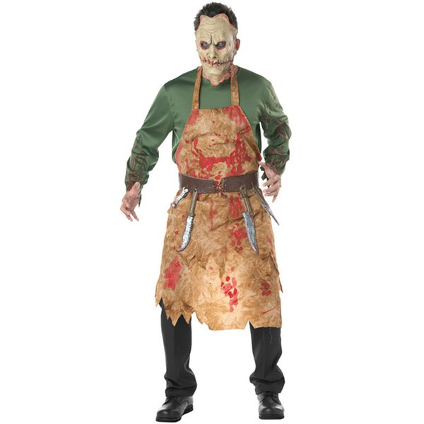 Cold Killer Horrible Adult Bloody Butcher Costume Mens Halloween America  European Chef Cosplay Male Blood Suit Zombie Costume Nurse Halloween  Costumes