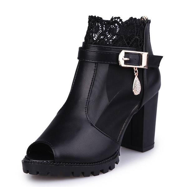 High Heeled Shoes White Black 2018 New Spring And Autumn Fashion Gauze Lace Martin Short Boots Fish Mouth Sandals 35-40 Code Best Sell