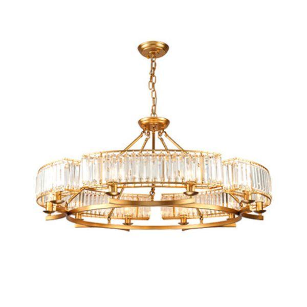 Candelabros de cristal europeo, lámparas de la sala, restaurante minimalista, iluminación del dormitorio, lujo, ambiente estadounidense simple, luces led