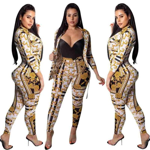 Moda sexy 2 pezzi pantaloni set abiti manica lunga giacca Top pantaloni skinny leggings a vita alta donne Tuta Casual Outfit night club