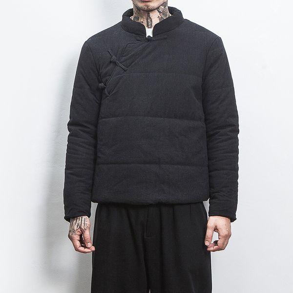 Jacke Parka Mode Mantel Herren Reißverschluss Männlichen Coole Warme Harajuku Chinesischen Schwarz Jacken Große Seite Dicke Großhandel Wintermantel 34jARq5L