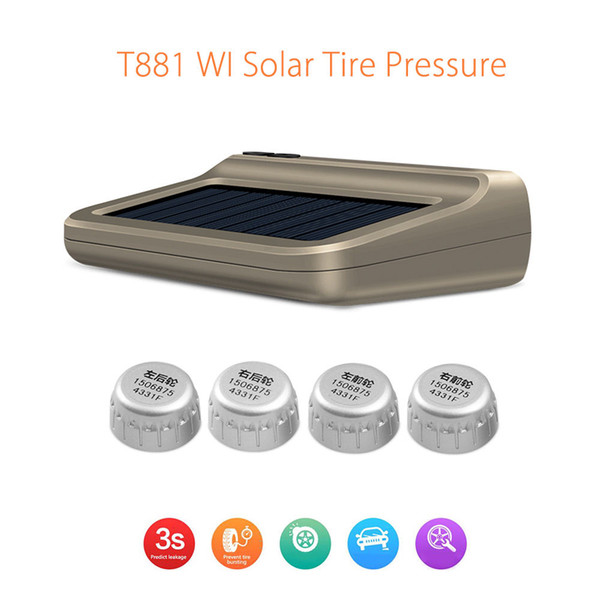 Blueskysea T881 Solar Tire Pressure Control System TPMS WI Connection Auto-pair LCD Display with 4 External Sensors
