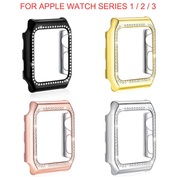 Bling Crystal Diamonds Watch Cover Case 38mm 42mm Series 3 Series 2 1 Hard Plastic Protective Frame Band