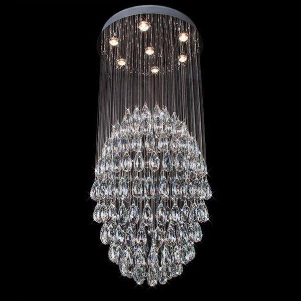 Hot Sales Modern Crystal Chandelier Lighting Lustres de sala Light Large Long Stair Lighting Guaranteed 100% Sphere Ball Lamp