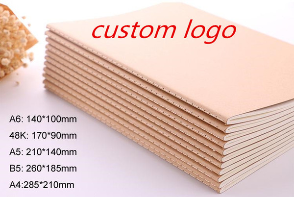 best selling Custom logo!blank Kraft paper notebook A4 A5 B5 Student Exercise book diary notes pocketbook school study supplies 30 sheets AU US free ship