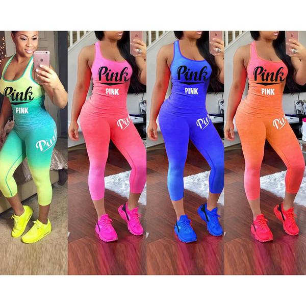 Yeni Moda Bayan Bayanlar Mektup Baskı Spor Salonu Egzersiz Eşofman Yelek Tank Top Kırpılmış Pantolon Setleri Artı Boyutu
