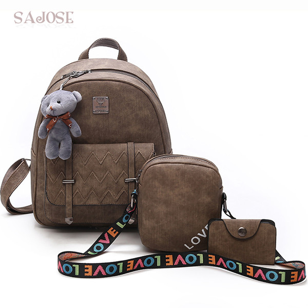 Women Leather Backpacks For Teenage Girls Fashion Backpack GRAY 3 Sets Cute Bear Pendant Letter ShoulStudent Shoulder Bag SAJOSE