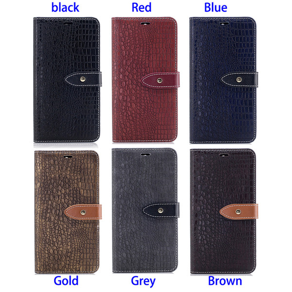 Mobile Phone Wallet Case Stand PU Leather Cover Cool Alligator Pattern Anti-skid Rough Concavo-Convex Stripe Surface (47 models for option)