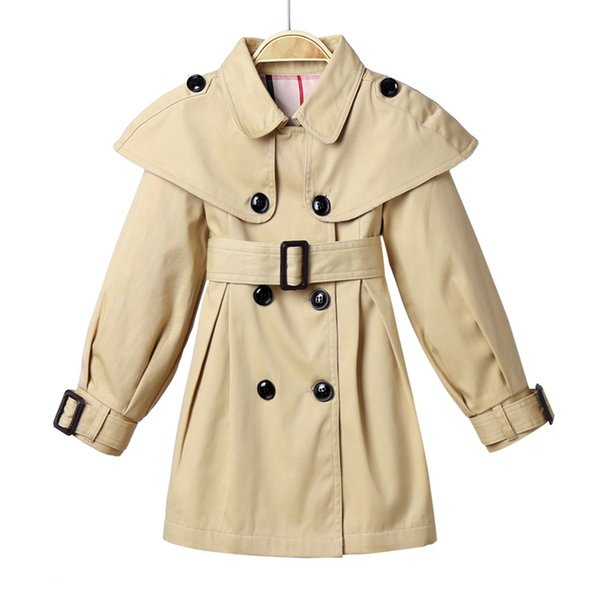 New double - breasted cape British style quality girl's trench coat in the spring and autumn tide(5pcs/lot)