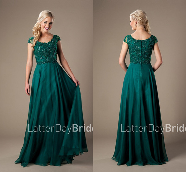 Hunter Green Beaded Lace Chiffon Long Prom Dresses 2018 Modest With Cap Sleeves robe de soiree Elegant Prom Evening Dresses Long Cheap