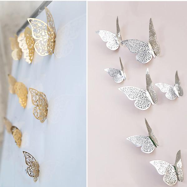 12 UNIDS Hueco Corte 3D Mariposa pegatinas de Pared Fansy Acrílico Flor Espejo de Corte Mariposa Etiqueta DIY decoración de La Habitación nave de la gota