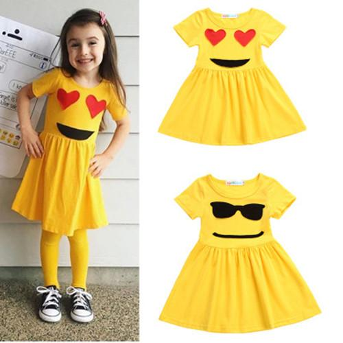 Kids Clothing 2018 Summer Baby Girls Dress Kids Children Clothes Yellow Smile And Sunglasses Short Sleeve Princess Girl Dresses 2Style 3-7T