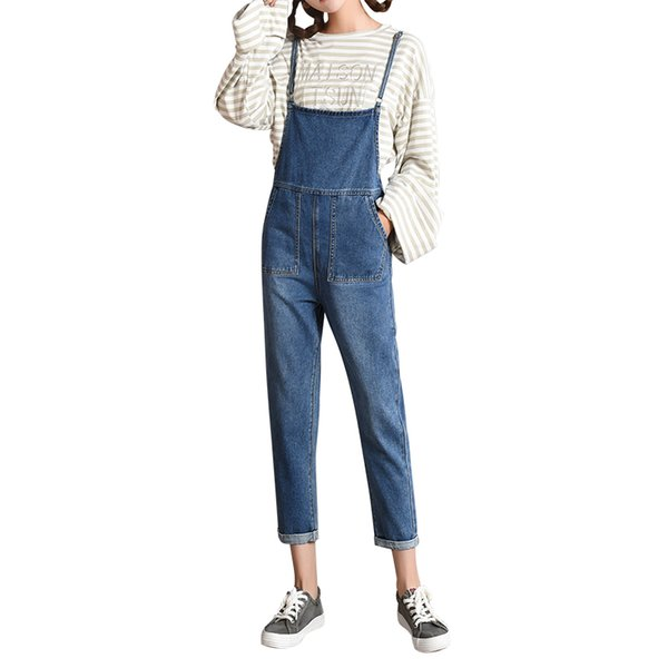 2018 Spring/Autumn Fashion Women Denim Overalls High Waist Straps Jumpsuit Female Girl Loose Jeans Pants