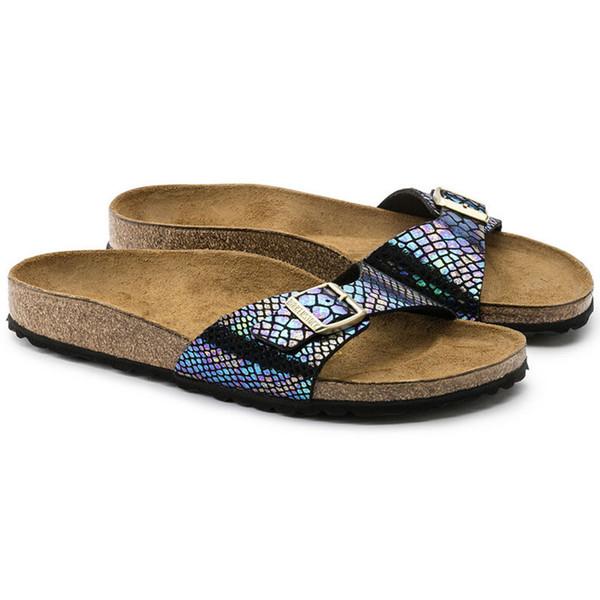 Famosa Marca Arizona Masculino Sandálias Planas Mulheres Sapatos Casuais Masculino Único Fivela Verão Palavra Arrastar Praia de Alta Qualidade Chinelos De Couro Genuíno
