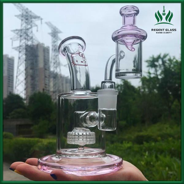 Bong en verre rose bonjour kitty bangs fond épais conduites d'eau borosilicate conduites d'eau pipe à eau narguilé capiteux avec bouchon de carburateur quartz banger