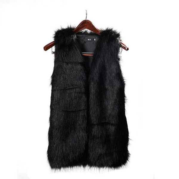 2017 Mulheres Faux Fur Vest Especial Fino longo casaco de pele fuax mulheres XXL Gilet Fourrure Coelho Preto / Vermelho / Marrom