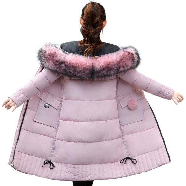 High Quality Warm Thicken Women Winter Jacket Fur Hooded Down Cotton Female Coat Long Parka Outwear Women Parkas Mujer S18101506