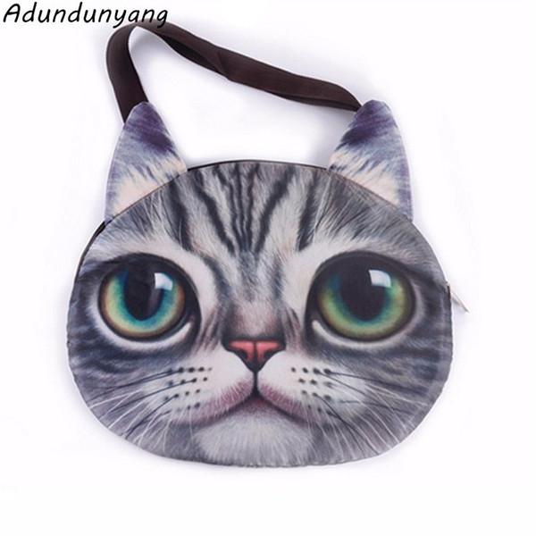Moda 2018 Nuevo bolso femenino de lona de calidad Gato Imprimir Bolsa Para las mujeres mensajero del hombro salvaje Acolchado bolsas de dibujos animados