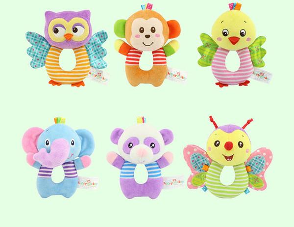 Newborn kids plush toys hanging bed crib stroller lovely animal appease dolls rattles grasping toy gift