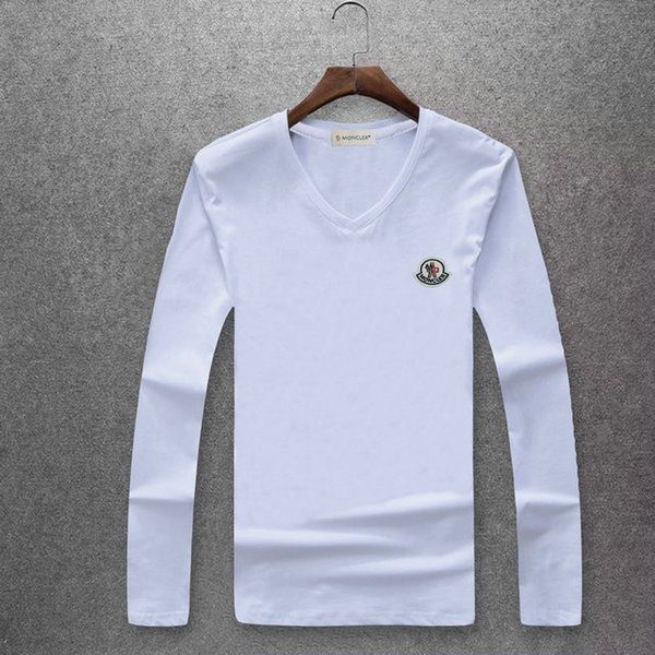 2018 new men's mercerized long sleeves T-shirt, pure cotton fabric comfortable slimming style, chest round logo embroidery