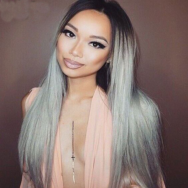 T1b Grey Ombre Human Hair Lace Front Wigs For Black Women Dark Root Silver Two Tone Straight Brazilian Virgin Hair Full Lace Wigs