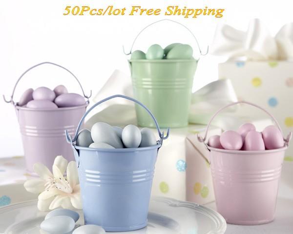 (50 Pz / lotto) Acquazzone nuziale Bomboniere di latta Bomboniere in multi color Per bomboniere e bomboniere per matrimoni a tema giardino