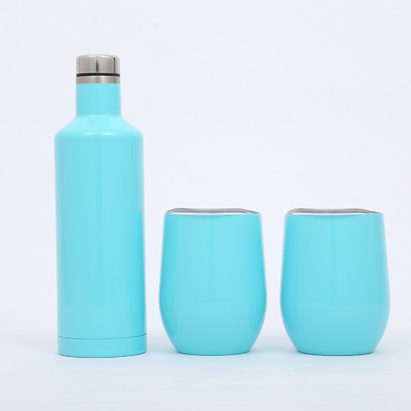 3pcs/set Stainless Steel Tumbler 500ml red wine bottle Flask Double 12 oz Stemless Egg cups Festive party with Gift box