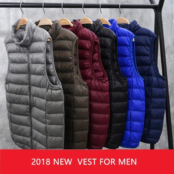 2018 New Winter White Goose Down Vest For Men Autumn Warm Casual Sleeveless Jacket Male Light Black Stand Collar Coat Mens WFY09 L18101102