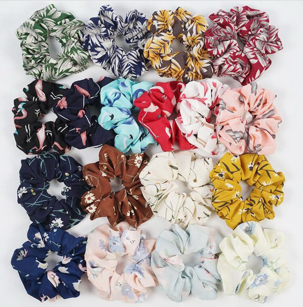 best selling 50pcs Floral Flamingo Solid Houndstooth Design Women Hair Tie Accesorios Scrunchie Ponytail Hair Holder Rope scrunchy basic Hair band FJ3351