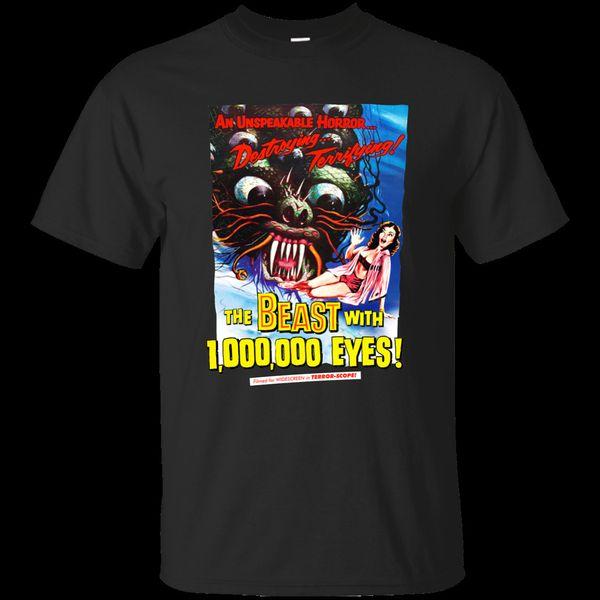 A Besta Com 1.000.000 Olhos, Criatura Característica, Retro, 1950's, Fifties, Ciência Homens O-pescoço Camiseta Camisa Cômica Homens