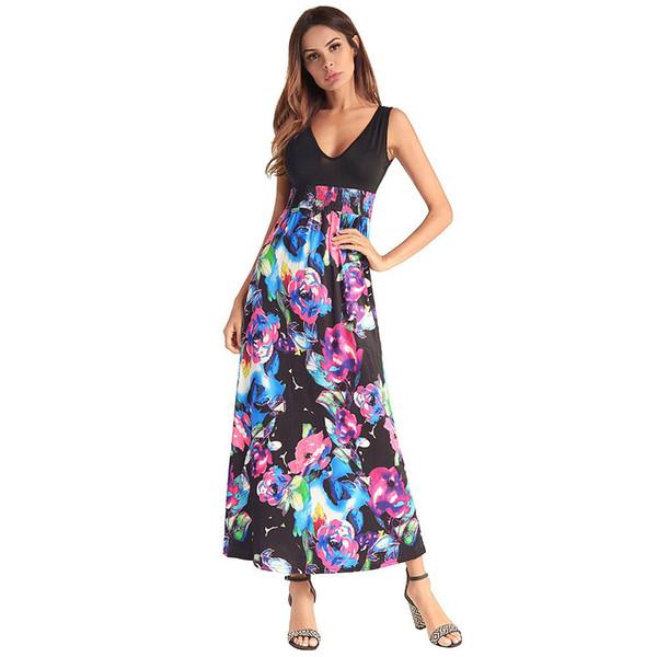 2018 Hot Sale Fashion Tank Top Maxi Dress Long Style Sleeve Dress V Neck Floral Print Dresses for Women