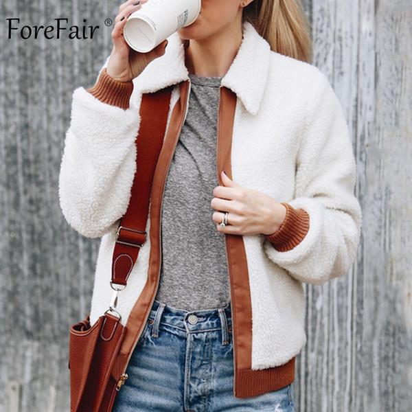 Forefair Fleece Casual Jacket Women Winter Outwear Streetwear Coat Long Sleeve Patchwork Tops Female Jumper Autumn Ladies Coats