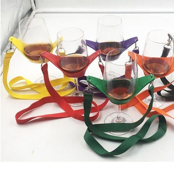 Portable Black Wine Glass Holder Strap Wine Sling Yoke Glass Holder Support Neck Strap for Birthday Cocktail Party ZA3108