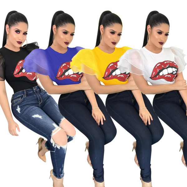 Summer Women Ruffle Sleeve T-shirts Big Red Mouth Print Tops Tees Crew Neck Short Sleeve Trendy Sexy Club Casual T-shirts For Lady Girl DHL