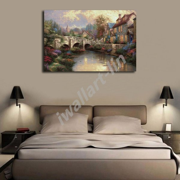 Thomas Kinkade Cobblestone Bridge Poster Canvas Painting Oil Framed Wall Art Print Pictures For Living Room Home Decoracion