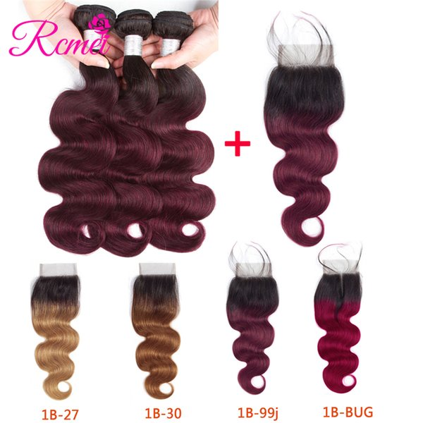 """Rcmei Pre-colored Indian Body Wave Hair Bundles 3Pcs With Closure 100% Human Hair Weave #1b-27/30/99j/Burgundy 10""""-26"""" Remy Hair Extensions"""