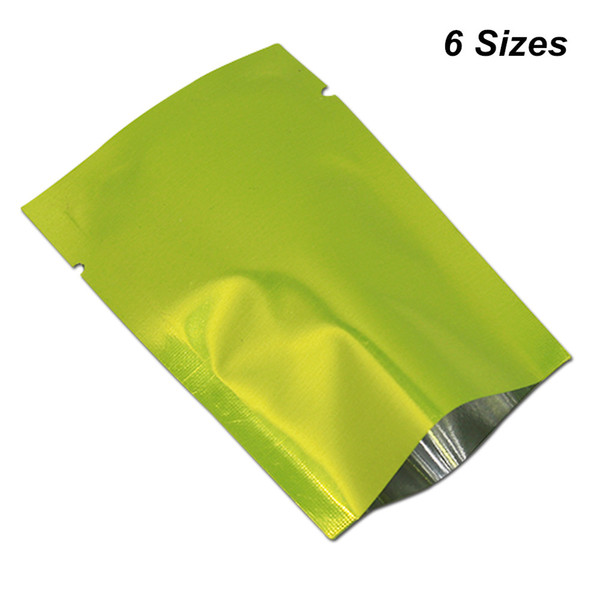200 pcs/Lot Multi Sizes Available Green Open Top Aluminium Foil Package Bags For Tea Coffee Vacuum Heat Sealed Mylar Packing Storage Pouches
