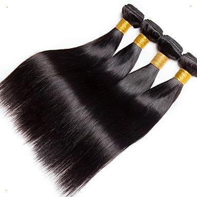 Красивые Красивые Бразильские Черный Цвет Прямые Волосы Переплетения 100% Бразильский Человека Реми Наращивание Волос 10-30 Дюймов Бразильские Волосы Девственницы