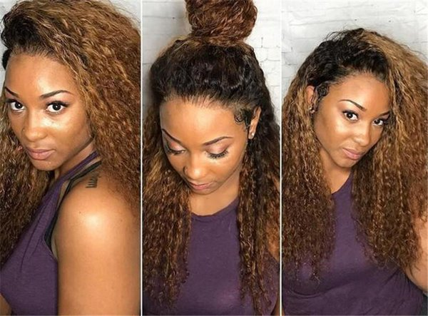 1bT30 Virgin Human Hair Glueless Full Lace Human Hair Wigs For Black Women Ombre Curly Lace Front Wigs with Baby Hair