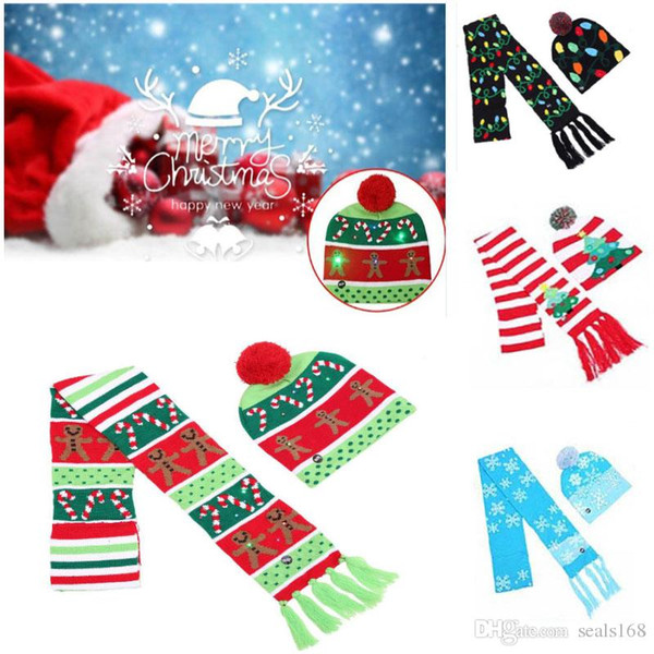 Christmas LED Knitted Hat Scarf Set Flashing Light Beanie Scarves Kit Cap For Snowflake Elk Reindeer Xmas Tree Party Props HH7-1851