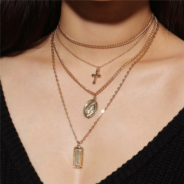 New Silver Gold Statement Multilayer Chain Necklaces For Women Cross Necklaces 3 Layers Bar Pendant Necklace Party Gifts