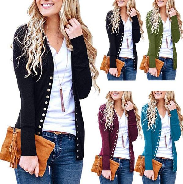 Women Button Sweater Cardigan Autumn Long Sleeve V Neck Solid Slim Outwear Knit Coat Crochet Lady Knits Maternity Outwear OOA5909