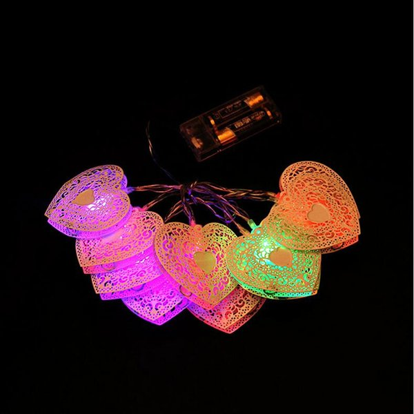 Romantic LED String Light Hollow Love Heart Lights Bar KTV New Year Wedding Decoration Party Supplies