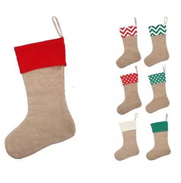 12 * 18 inç 2018 Yeni yüksek kalite tuval Noel çorap hediye çanta Noel çorap Noel dekoratif çorap çanta
